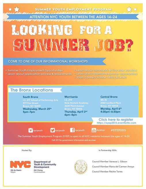 nyc summer youth employment program 2015 application