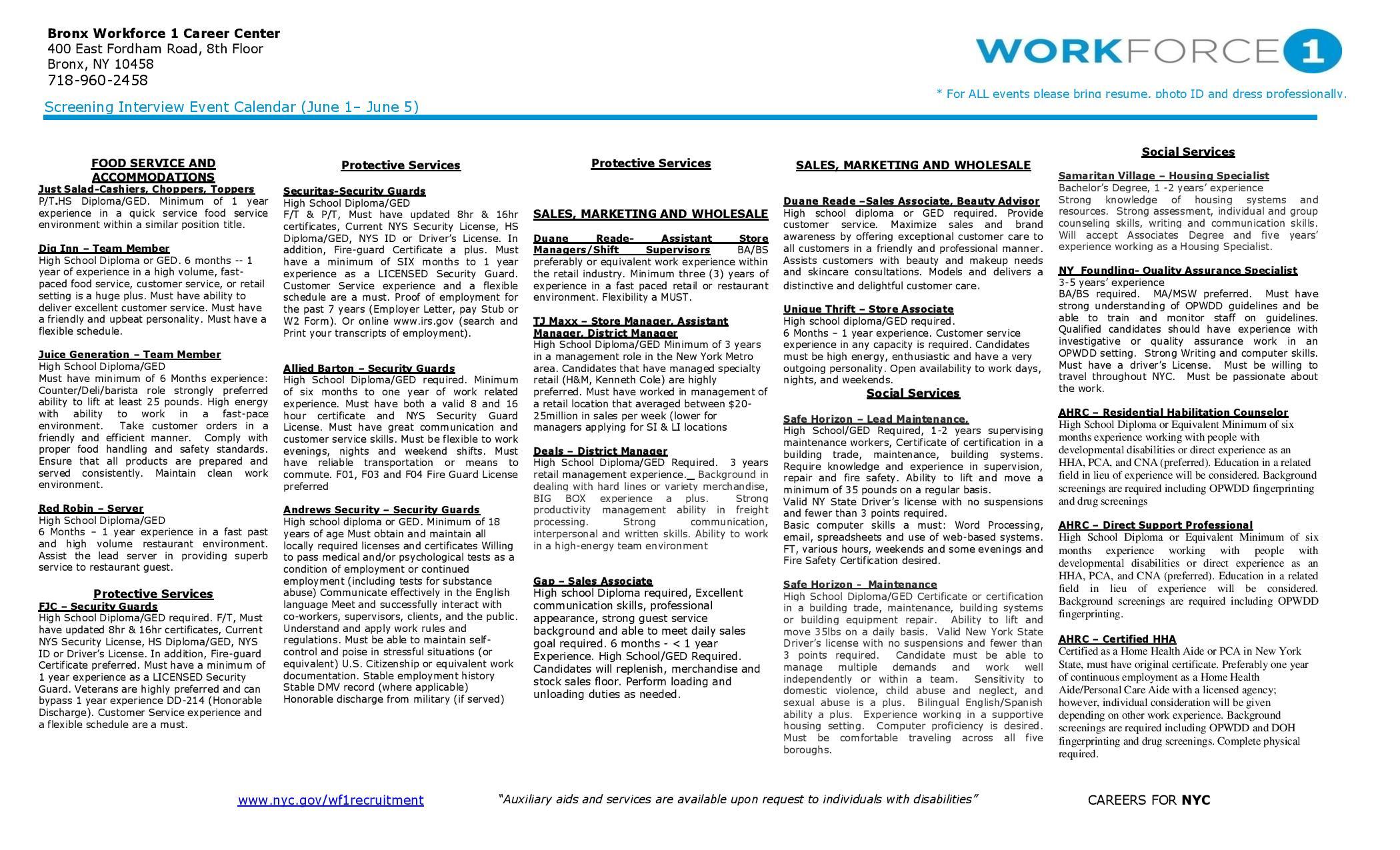 Bronx Wf Opportunities Flyer