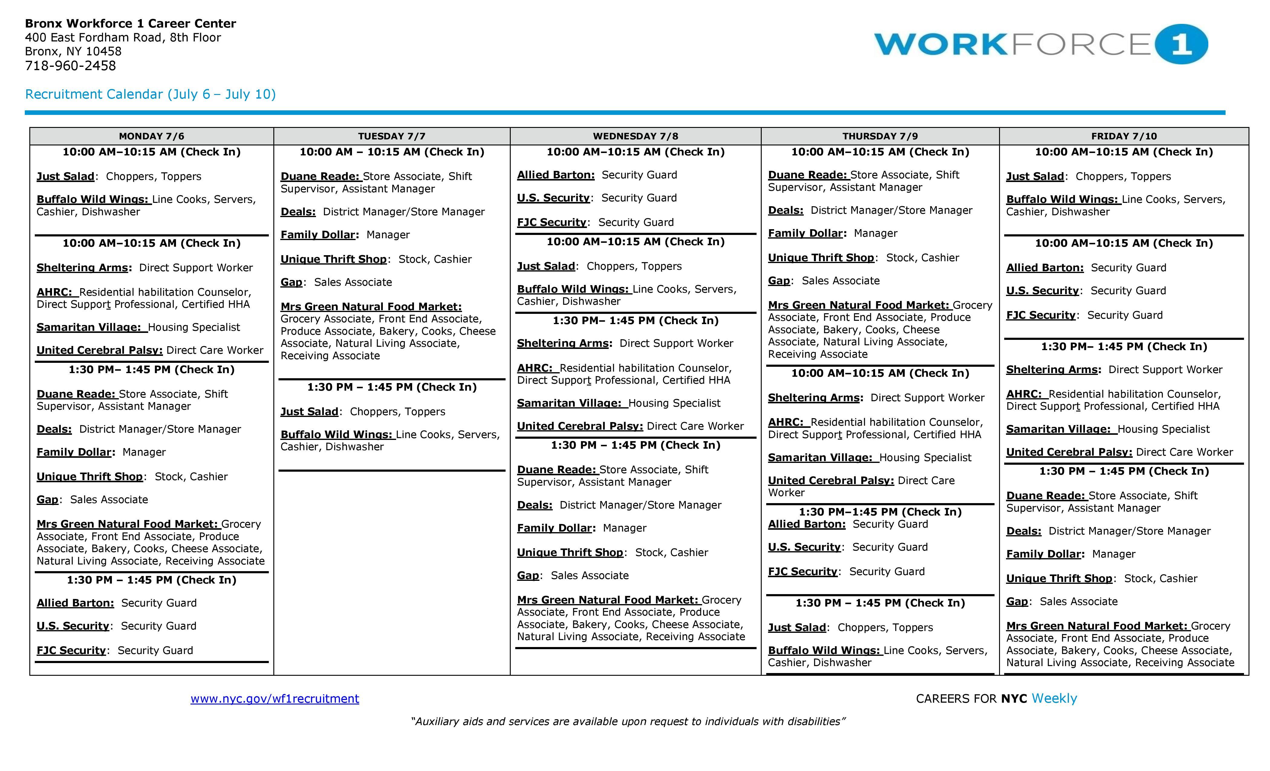 careerdevelopment new york city council member fernando cabrera bronx workforce 1 job recruitment calendar