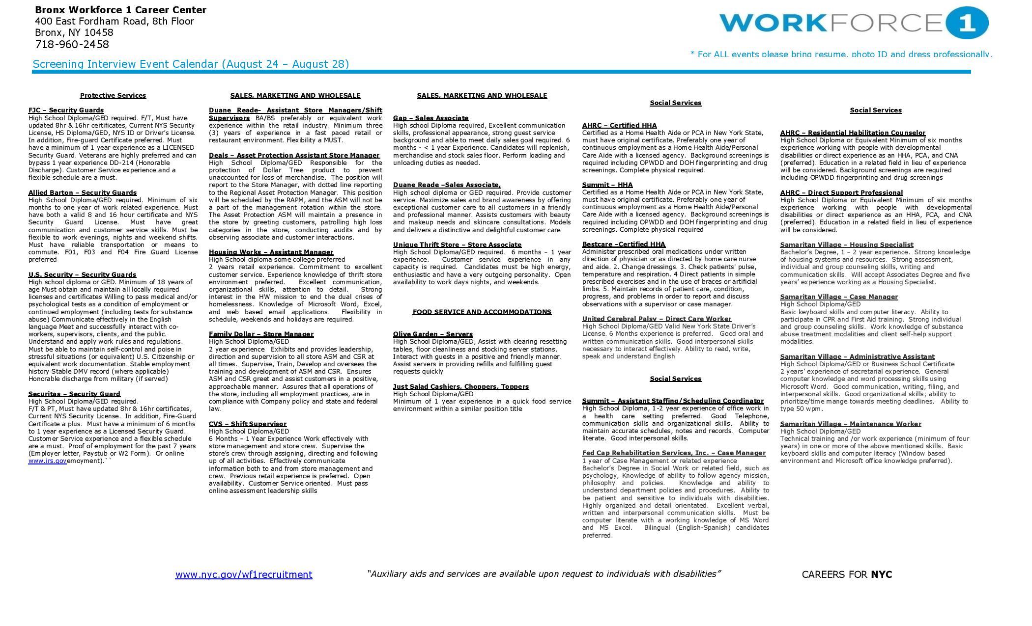Employment new york city council member fernando cabrera page 4 bronx workforce 1 recruitment calendar 824 828 1betcityfo Image collections